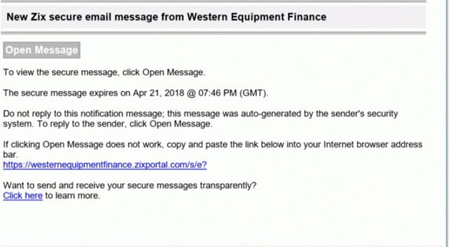 Secure Email & File Transfer | Western Equipment Finance